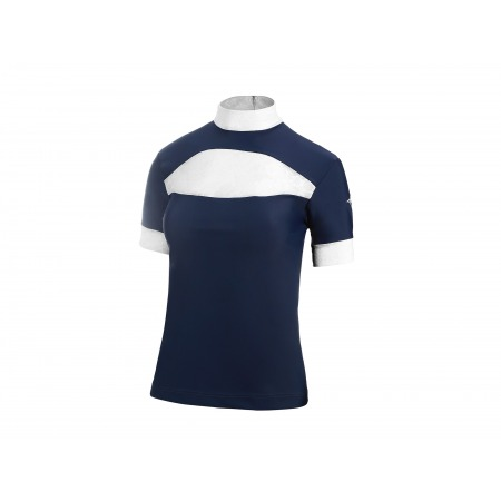 COMPETITION SHIRT WITH LACE INSET IN DARK BLUE