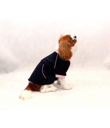 Warm dark blue fleece with a pink trim