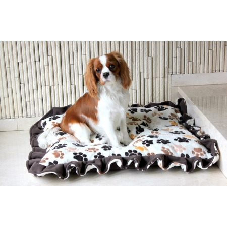 Dog's bed – pillow with frills in ecru, large